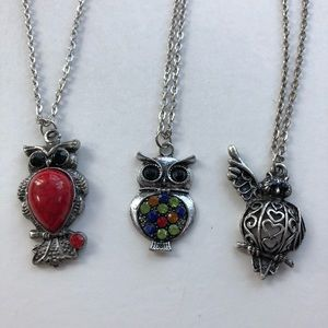 Jewelry - Lot of 3 Silvertone Owl Pendant Necklaces